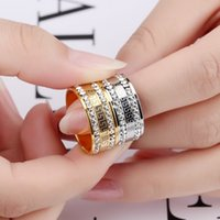 Wholesale gold jewellery ring man online - 9mm men ring High quality Gold color Stainless steel Luxury AAA CZ Great Wall lines Anillos Europe fashion brand Jewellery