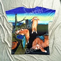Crew Neck painting with clocks - Track Ship Vintage Retro Good Feeling T shirt Top Tee Famous Painting The Melting Clock with Funny Yellow Cat