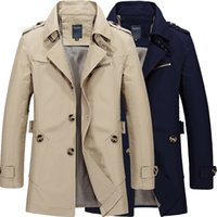 Wholesale Long Sections Trench Coats - Wholesale- Plus Size M-5XL Casual Long Section Winter Jacket Men Trench Coat Overcoat