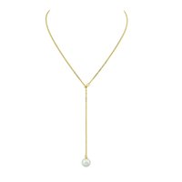 Wholesale Model Pearl - Free Shipping Simple Model Gold Silver Color Chain Y Style Necklace Design Pearl Pendant Necklaces for Women