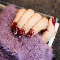 Wholesale Acrylic Red Nail Tips - 24pcs Popular Wine Red Short False Nails with Sliver Lines Square Head Full Artificial Nails Tips with Glue Sticker