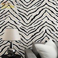 tecido de zebra venda por atacado-Modern 3D Estereoscópica Tarja Não-tecido Papel De Parede Zebra Padrão Quarto Sala TV Fundo Wall Decor Papel De Parede Rolo Tamanho