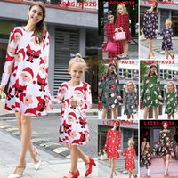 Wholesale New Kids Dresses - Europe Family Matching Outfits dress New woman kids girl Christmas stripe Santa princess dresses mother and daughter clothes B001