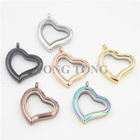 Wholesale 316 stainless steel magnetic lockets - Free Shipping! Curvy Heart Magnetic Closure Silver 316 Stainless Steel Living Charm Locket Glass Pendant (free matching plate)