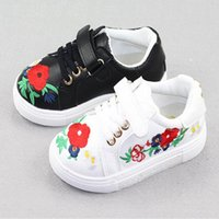 Wholesale Kids Sneakers For Wholesale - 2017 New Design Kids floral Flower Sneakers Autumn PU Leather Child Embroidered Girls Casual Shoes for boys Soft soles