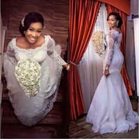 Wholesale Charm Bridal Lace Wedding Dress - Charming Mermaid Lace Wedding Dresses Long Sleeves Bridal Wedding Gowns Boat Neck Bride Dress For Wedding Custom Size Color