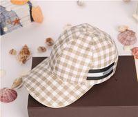 Wholesale Canvas Caps - European style brand hats high quality canvas fashion plaid stripes pattern outdoor sports leisure sun hat designer cap with box