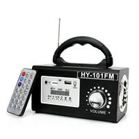 Wholesale Mp3 Remote Controller - HYBT101 Hot sale Wooden speaker altavoz portable USB speakers wood with handle woofer FM radio Remote Controller enceinte portable puissant