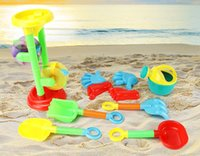 Vente en gros - 10pcs Kids Seaside Excavating Tools Beach Sand Play Jouets à l'eau Closed Spade Shovel Sunglasses Outdoor Fun Hourglass Paddle Set