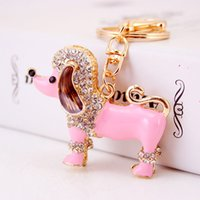 Barato Chaveiro De Cão Atacado-Top Quality Full Diamond Dog Charm Keychains para mulheres Beautiful Animal Pendant Keyrings Fashion Key Rings Wholesale