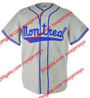 Wholesale Cream Team - Custom Montreal Road Flannels Jerseys #9 Jackie Robinson 1946 Gray #5 Roberto Clemente 1954 Cream Home Team baseball Jerseys S,4XL