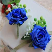 corsages azuis do casamento venda por atacado-Flores artificiais de Dama de Honra Azul Rosa Pulso Corsage Gentleman Rose Boutonniere Padrinho de Casamento Bouquet De Seda Flor Decorações Do Casamento