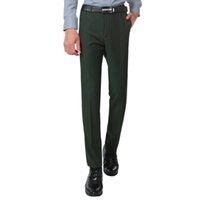 Wholesale Slim Fit Work Suit - 2017 New Green Colour Summer Men Fashion Work Thin Suit Pants Business Slim fit Pants Gentlemen Slim Fit High Quality casual Trousers
