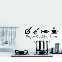 Wholesale Self Adhesive Wall Time - Enjoy Cooking Time Wall Sticker Kitchen Personality Interesting Decor Vinyl Wall Quote Home Art Sticker Diy
