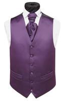 Wholesale Tailored Suits For Men Purple - New Classic fashion Purple Satin tweed Vests Wool Herringbone British style Mens suit tailor slim fit Blazer wedding suits for men P:8