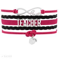 Wholesale Pink Apple Jewelry - Infinity Love Teach Teacher Apple Charm Bracelets For Women Men Jewelry Blue Pink Black Wax Leather Wrap Bracelet