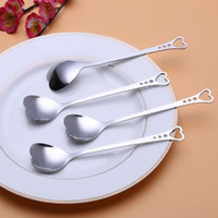 Wholesale Wholesale Heart Shaped Measuring Spoons - Flatware Lovers Heart Shaped Love coffee tea measuring Spoon Wedding lover Favors stainless steel dinner tableware 2 in1 coffee Spoon h51