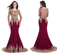 Wholesale Satin Lace Robe Long - Elegant Long Sleeves Mermaid Dresses Evening Wear Scoop Sheer Neckline Gold Lace Appliques Burgundy Robe de Soiree Longue Prom Party Gowns
