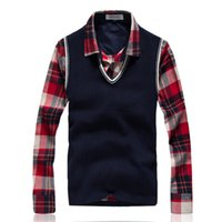 Wholesale Warm Wool Vest - Wholesale- 2016 fashion Winter Warm brand Sweater Men V-neck vest sweater sweater Men Pullover hot sale