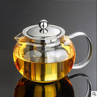 glashitzebeständige teekannensätze großhandel-YGS-Y254 Beste Hitzebeständige Glas Teekanne Blume Tee-Set Puer Wasserkocher Kaffee Teekanne Bequem Mit Infuser Office Home Teetasse
