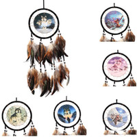 Wholesale paintings india resale online - Vintage Handmade Dreamcatcher Oil Painting Totem Wolf Dream Catcher with Feather Wind Chimes Car Wall Hanging Home Decor Ornament