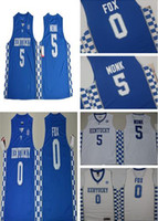 Wholesale Red Fox Sale - Hot sale 2017 Kentucky Wildcats College Basketball Jerseys #5 Malik Monk #0 DeAaron Fox New Style Blue White Stitched University Jersey
