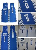 Wholesale College Style - Hot sale 2017 Kentucky Wildcats College Basketball Jerseys #5 Malik Monk #0 DeAaron Fox New Style Blue White Stitched University Jersey