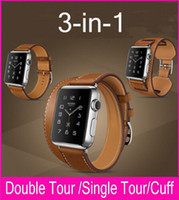 Wholesale double tour - New 3 in 1 Genuine Leather Band Strap Double Tour Bracelet Leather Replace Watchband Wrist For Apple Watch 38MM 42MM