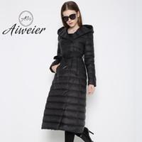 Wholesale Womens Cotton Parka Coat - [Aiweier]2017 Autumn Winter Long Woman Down Jackets Parkas Vests Linght Hooded Thin Belt Solid Womens Down With Fur Coats HXD032