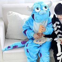 2018 Бесплатная доставка Unisex Sulley Animal Pajamas для детского аниме Cosplay Costume Christmas Sleepwear Kigurumi Pajamas Baby Cartoon Jumpsuits
