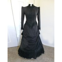 Wholesale Century Length - Custom Hot Sale Elegant Black Satins Long Sleeves Vintage Victorian Bustle Ball Gowns 17 18th Century Lady Dress Costumes Party