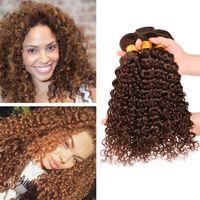 Wholesale Hair Chestnut - 3Pcs Lot Chestnut Brown Deep Wave Virgin Peruvian Hair Weaves #4 Light Brown Deep Curly Human Hair 3 Bundles Extensions