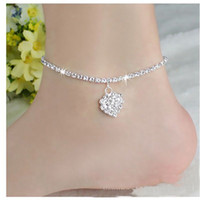 Wholesale toe ankle bracelets - Wholesale Simple Anklet Crystal Rhinestone Love Heart Pendant Toe Ankle Bracelet Chain Link Foot Jewelry For Women Drop Shipping