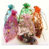 Wholesale Organza Velvet Bags - 7*9CM(2.75x3.54 inch) Gold Heart Organza Bags Jewelry Pouch Bags Organza Velvet Drawstring Pouches Wedding Favors Candy Gift Bags 500pcs