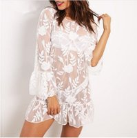 Wholesale White Ruffle Lace Bikini - Embroidery transparent mesh lace blouses bohemian shirt bikini cover ups Women sexy flare sleeve ruffles white Summer beach long dress 2017