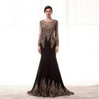 Wholesale Knit Dress China - Robe de Soiree Longue Real Kaftan Dubai Black Long Sleeve Mermaid Evening Dresses 2017 Formal Evening Gowns China Vestido Longo
