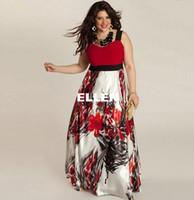 Wholesale Large Maxi Dress - XXL-6XL Summer Women Large Size Dress Floral Flower Print Dress Plus Size Summer Women Sleeveless Dresses