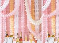 kağıt mendil çelenk toptan satış-Asılı Garland Dört Yapraklı Yonca Afiş Kağıt Çiçekler Püskül Doku Düğün Dekor Noel dekorasyon Kullanımlık 3.6 m 21 renk HEDIYE