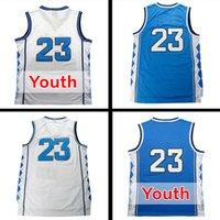 Wholesale Youth Cheap Sports Jerseys - Top quality Men's #23 North Carolina Jerseys Blue White Youth Basketball Jersey Men Sports wear embroidered Logos Cheap sports shirts