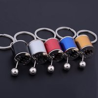 Wholesale Metal Gearbox - gearbox keychain shifting alloy gear case rocker key chain refit turbine key rings metal toys DHL