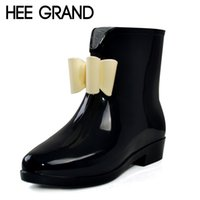 Wholesale Bow Rainboots - Wholesale-HEE GRAND Cute Short Bow Bowknot Rain Boots Rubber Flat Heel Ankle Rainboots Fashion Galoshes Rainshoes 36-40 XWX431