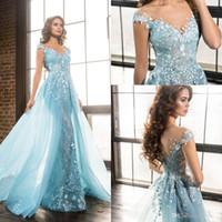 zuhair murad vestido azul céu venda por atacado-Light Sky Blue Zuhair Murad Vestidos de noite Sheer Neck Mangas curtas Apliques de renda Tule sobre saia Vestidos de celebridades Formais Vestidos de baile