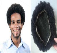 Wholesale Virgin Hot Full - Hot selling popular afro curl men toupee short virgin brazilian hair afro curl full lace toupee for black men free shipping