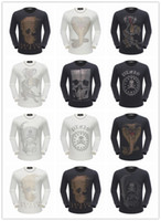 Wholesale Skull Long Sleeve Knit Sweater - free shipping 2017 New top quality men Sweater pp brand 100% cotton Long sleeves Sweaters fashion skull & letter printed Men's Sweater