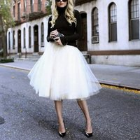 Wholesale Empire Waist Puff - New Puff Women Chiffon Tulle Skirt White faldas High waist Midi Knee Length Chiffon plus size Grunge Jupe Female Tutu Skirts
