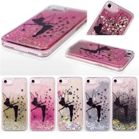 Wholesale hard back case packaging for sale - Luxury PC Hard Side Black Angel Girl Glitter Quicksand Liquid Phone Back Case for Iphone s plus s plus Plus s With OPP Package