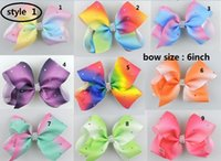Wholesale Multi Ribbon Hair Bow - 3 style available ! RARE Jojo 6inch Large rhinestone hair bow Ombre rainbow ribbon hair bow clip 20pcs