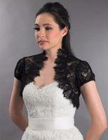 düğün danteli ceketler siyah toptan satış-Kısa Kollu Siyah Fransız Dantel Gelin Akşam Ceket Balo Gelin Elbiseler Chanticly Dantel Düğün Aksesuarları Için Bolero