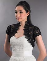 ingrosso manica corta nera bolero-Maniche corte nero da sposa in pizzo francese da sera Bolero per abiti da sposa da sposa di pizzo in pizzo