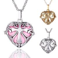 Wholesale Copper Filigree Necklace - 2017 hot sale 10pcs Wholesaleheart Hollow Cage Filigree Ball Box Copper Locket Pendants For DIY Jewelry M018